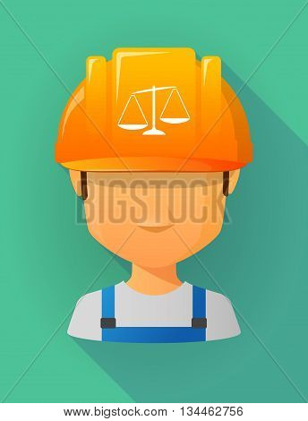Worker Male Avatar Wearing A Safety Helmet With  An Unbalanced Weight Scale