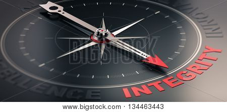 3D illustration of a compass over black background with needle pointing the word integrity. Concept image of company core values