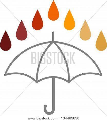 Acid Rain - Rain drops of different colours through the acid PH spectrum above the outline of an umbrella