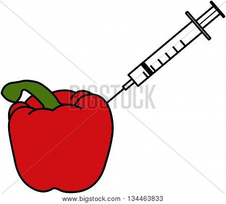 GM Foods - An illustration of a red pepper which has a syringe being put into it