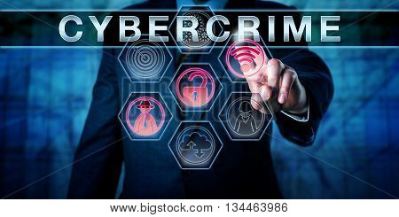 Computer security expert is pressing CYBERCRIME on an interactive virtual touch screen interface. Business metaphor and computer crime concept for criminal offenses perpetrated via the internet. poster