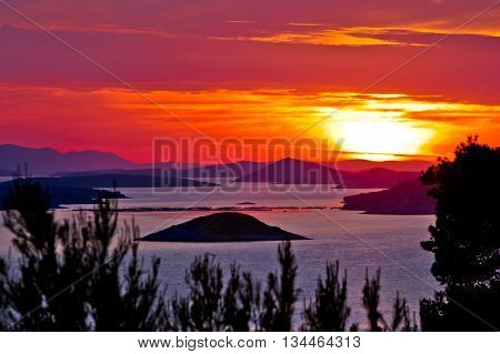 Kornati national park archipelago sunset view Dalmatia Croatia