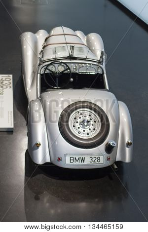 Classic 1936 Bmw 328 Displayed At The Bmw Museum In Munich