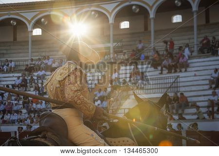 Pozoblanco Spain - September 24 2010: Picador bullfighter lancer whose job it is to weaken bull's neck muscles in the bullring for Jaen Spain
