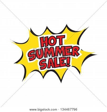 Hot summer sale banner design. Vector illustration. Cartoon.