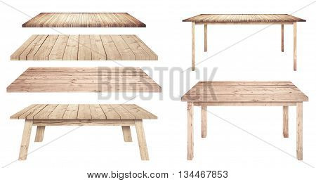 Brown and different style wooden tables are isolated on white background.