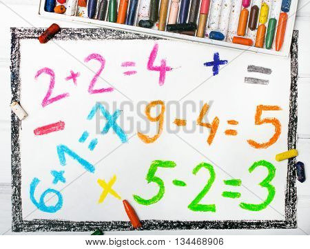 Photo of a olorful drawing: math operations
