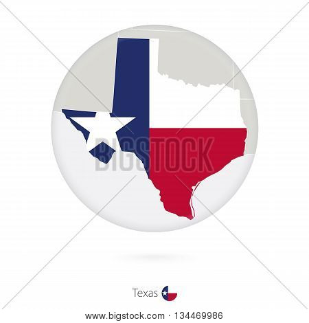 Map Of Texas State And Flag In A Circle.