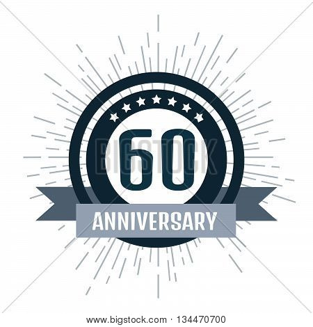Anniversary logo 60th. Anniversary 60. Stock vector. Vector illustration.