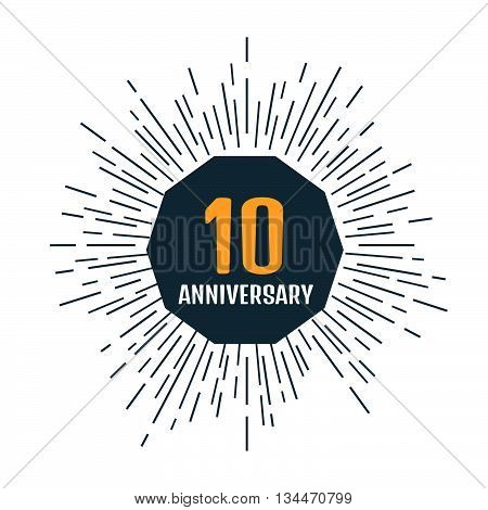 Anniversary 10 icon or label. Stock vector. Vector illustration.