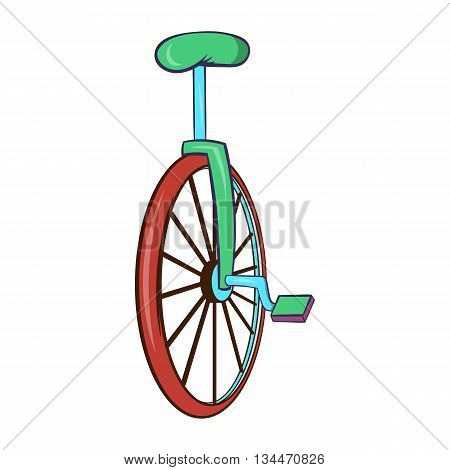Unicycle or one wheel bicycle icon in cartoon style on a white background