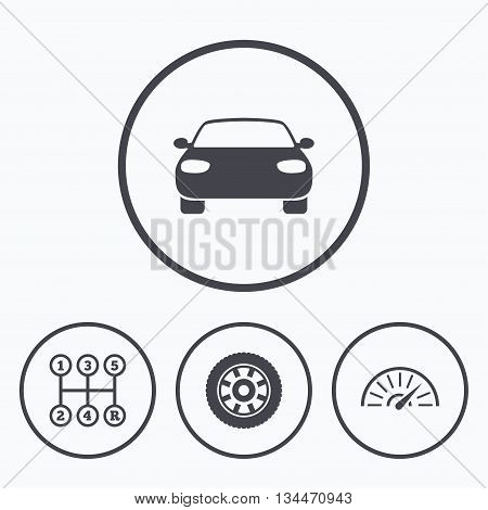 Transport icons. Car tachometer and mechanic transmission symbols. Wheel sign. Icons in circles.