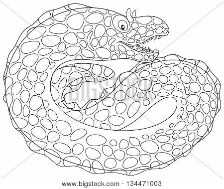 Black and white vector illustration of a moray eel swimming