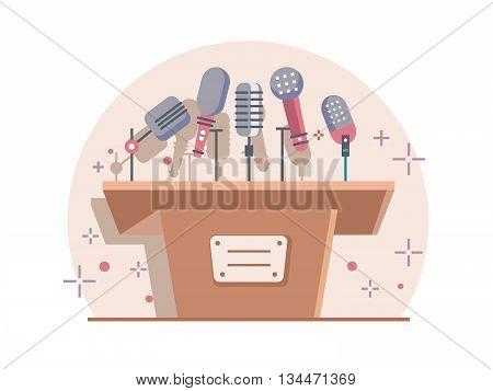Tribune with microphones. Conference and debate, podium for presentation, tribune for seminar, flat vector illustration