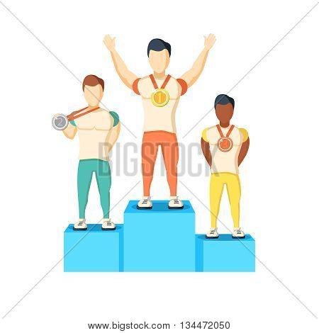 Athletics Winner Podium Athletes with medals vector illustration