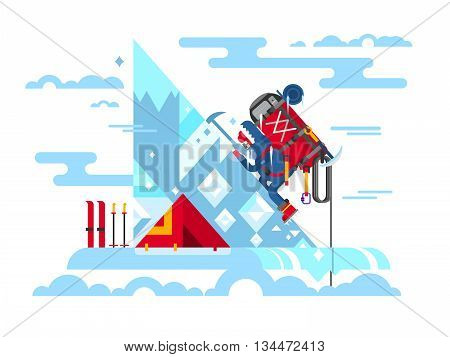 Climber conquers the summit. Mountain and adventure, climbing and challenge, brave and courage, extreme and risk, vector illustration