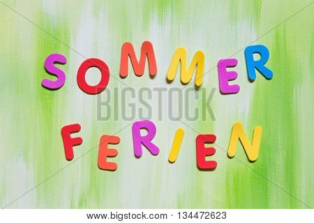 Coloful Letters, German Word, Concept Summer Holidays