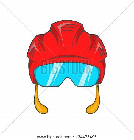 Red hockey helmet with glass visor icon in cartoon style on a white background