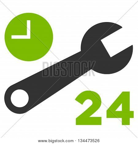 Nonstop Service Hours vector icon. Style is bicolor flat icon symbol, eco green and gray colors, white background.