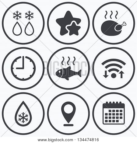 Clock, wifi and stars icons. Defrosting drop and snowflake icons. Hot fish and chicken signs. From ice to water symbol. Calendar symbol.