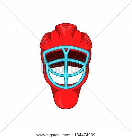 Red hockey helmet with cage icon in cartoon style on a white background