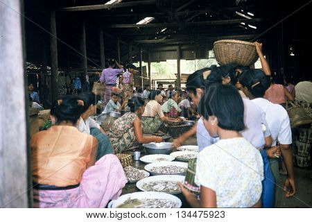 PAGAN / MYANMAR - CIRCA 1987: People shop for fresh fish at the bustling Nyaung U market in Pagan.