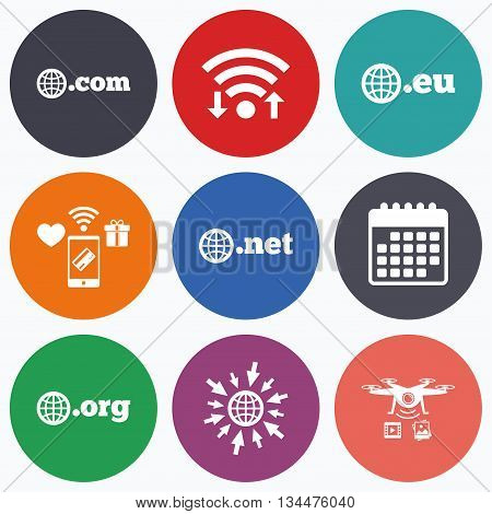 Wifi, mobile payments and drones icons. Top-level internet domain icons. Com, Eu, Net and Org symbols with globe. Unique DNS names. Calendar symbol.