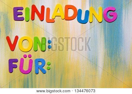 Colorful Letters, German Word, Invitation