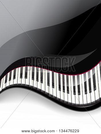 grand piano keys wavy background. vector illustration
