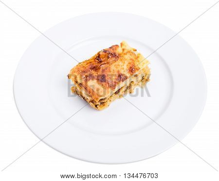 Baked pie with pork forcemeat. Isolated on a white background.