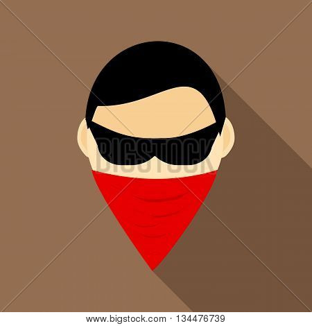Spy in mask icon in flat style with long shadow. Spying symbol
