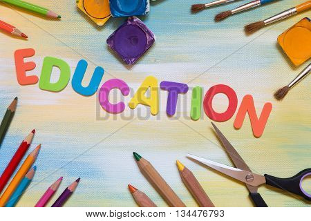 Colorful Letters And School Supplies, Education