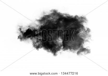 Single black smoky cloud over white background inkblot in water