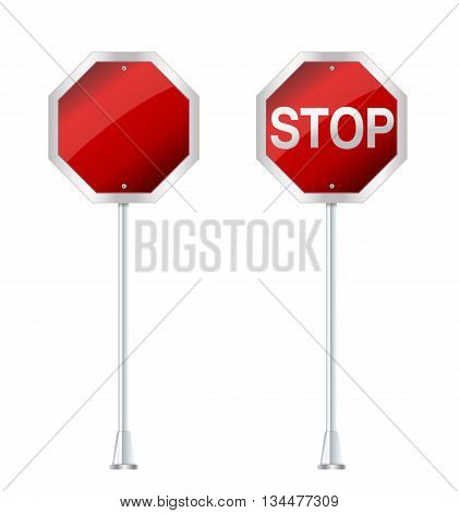 set of stop sign on white vector illustration