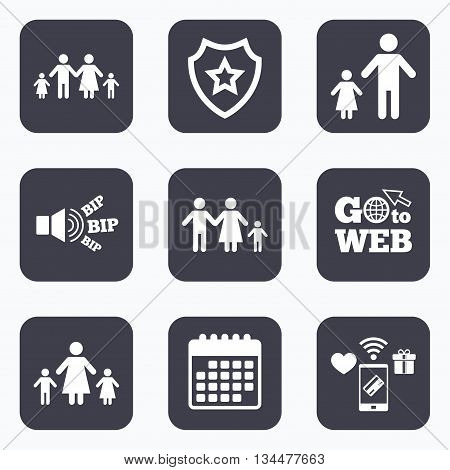 Mobile payments, wifi and calendar icons. Family with two children icon. Parents and kids symbols. One-parent family signs. Mother and father divorce. Go to web symbol.