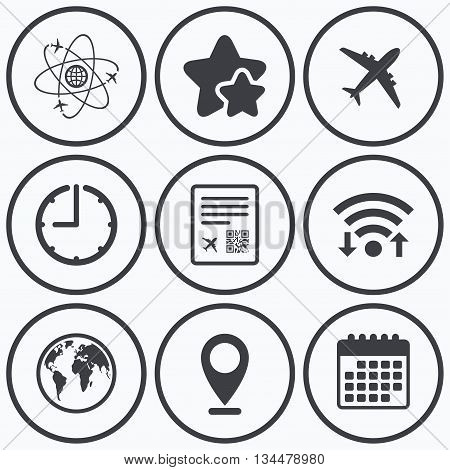 Clock, wifi and stars icons. Airplane icons. World globe symbol. Boarding pass flight sign. Airport ticket with QR code. Calendar symbol.