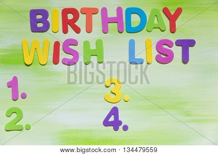 Colorful Letters, Birthday Wish List