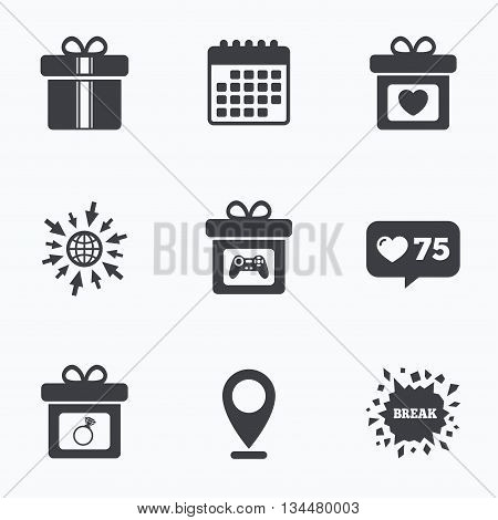 Calendar, like counter and go to web icons. Gift box sign icons. Present with bow and ribbons symbols. Engagement ring sign. Video game joystick. Location pointer.