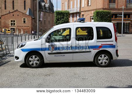 Albi France - June 9 2016: French Police (Police Municipale) Car Renault Twingo Parked in a Parking Lot in the City of Albi