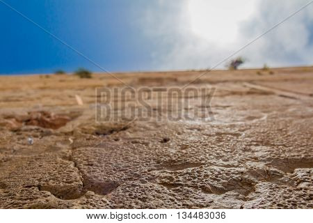 Closeup Low Angle View Of The Western Wall In The Old City Of Jerusalem Israel