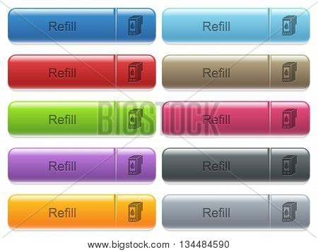 Set of refill glossy color captioned menu buttons with engraved icons