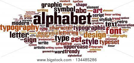 Alphabet word cloud concept. Vector illustration on white