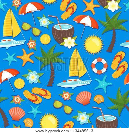 Summer vacation seamless pattern with yacht lifebuoy palm coconut flowers flipflops umbrella on blue background vector illustration