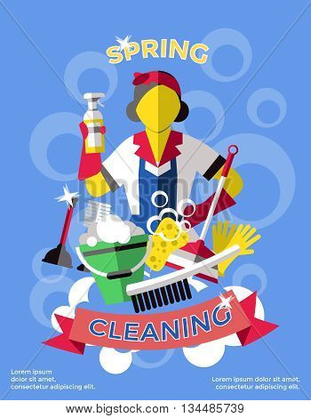 Cleaning colored poster cleaner with cleaning agents in the hands of and red ribbon vector illustration