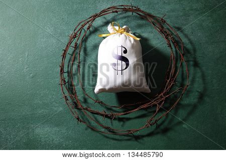 bag of money surround by barbwire