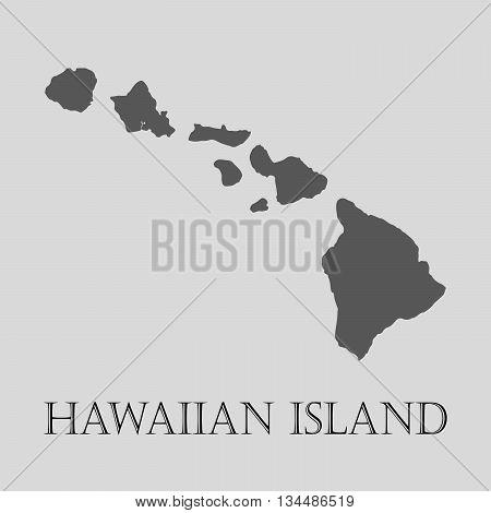 Black Hawaiian island map on light grey background. Black Hawaiian island map - vector illustration.