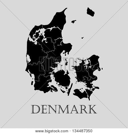 Black Denmark map on light grey background. Black Denmark map - vector illustration.