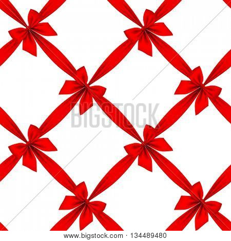 Red ribbon and bow grid seamless pattern background isolated on white. 3D illustration