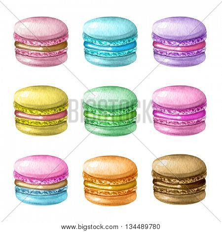 Watercolor illustration of hand painted colorful macarons