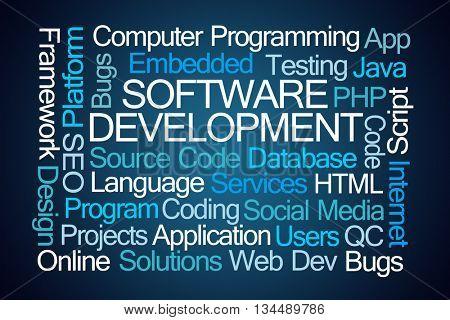 Software Development Word Cloud on Blue Background